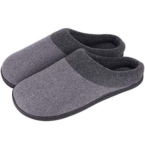 HomeIdeas Men's Woolen Fabric Memory Foam Anti-Slip House Slippers (Small / 7-8 D(M) US, Gray)