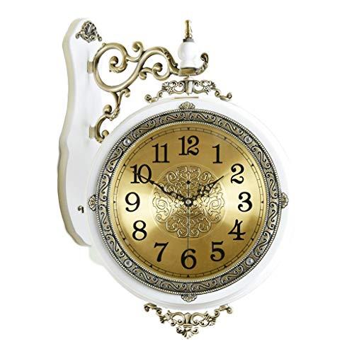 ZHICHUAN Reloj Europeo Estilo Vintage Mudo Pared de Doble Cara Sala de Estar de la Sala de Estar Dormitorio Ambos Lados Simple Cuarzo Reloj decorativo/Blanco
