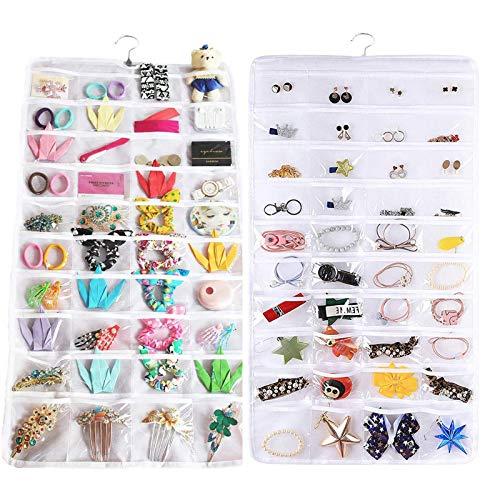 FiveRen Organizador de joyas para pendientes, collares, pulseras, anillos, 2 unidades, 80 bolsillos, color blanco