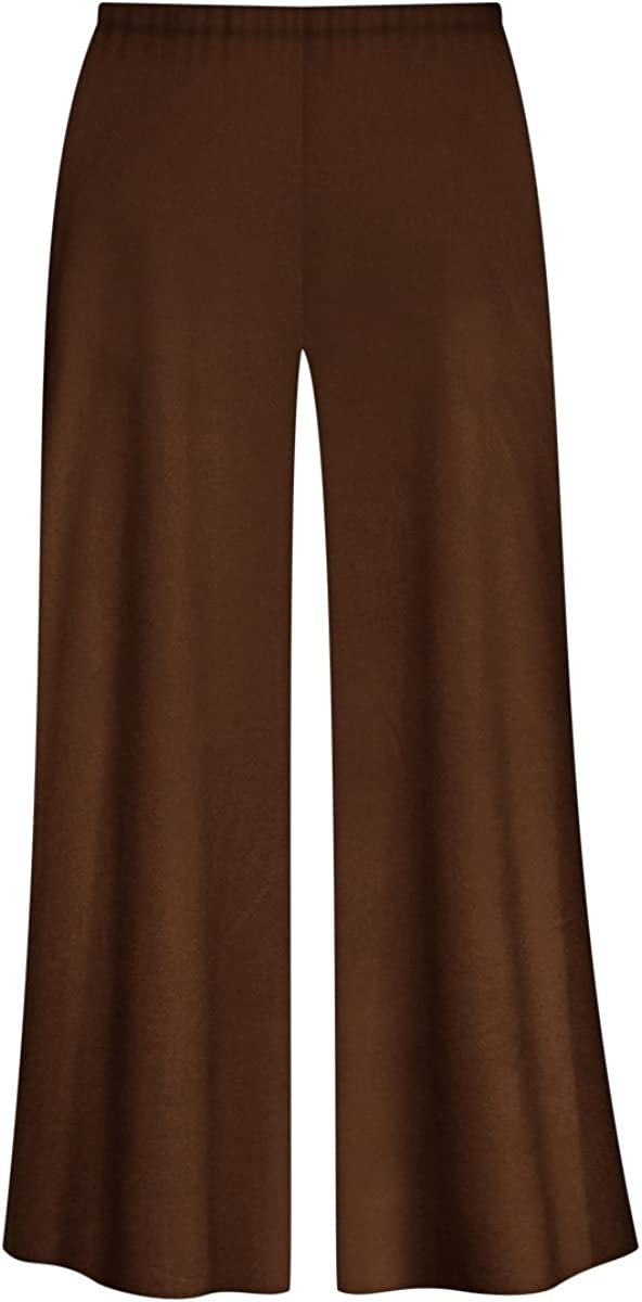 Solid Brown or Tan Slinky Wide Leg Plus Size Supersize Palazzo Pants at  Women's Clothing store