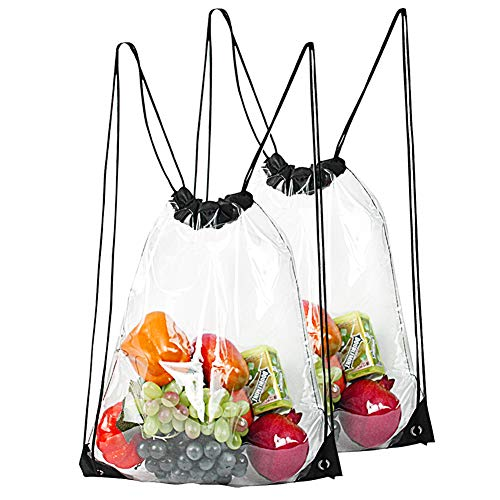 2-Pack Clear Drawstring Backpack,Waterproof Drawstring Bag for Women and Men Sport Gym