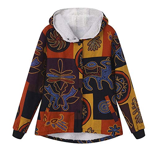 TOPKEAL Damen Jacke Mantel Herbst Winter Sweatshirt Steppjacke Kapuzenjacke GroßFormatiger, Retro Bedruckter Langarm-PlüSchmantel Mit Kapuze Mode 2020 (Gelb, M)