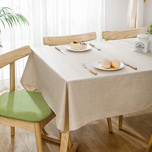LIUJIU Textiles para el hogar moderno estilo rústico vintage hecho a mano mantel encaje mantel bordado blanco manteles cubierta, 120 x 160 cm