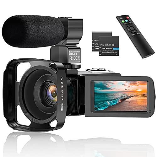 "Videocámara, 2.7K Vlogging Cámara para Youtube Videocámara Digital UHD 36MP IR Visión Nocturna Cámara Digital con 3.0"" Pantalla táctil 16X con Micrófono, Webcámara, Control Remoto, 2 baterías"