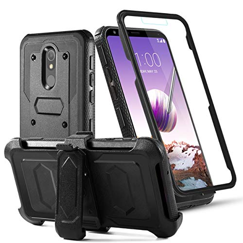 Toyouu for LG Stylo 5/5+/5V/5X/LG Stylo 5 Plus Phone Case Built-in[Full Coverage Screen Protector] with Belt Clip[Kickstand] Full Body Heavy Duty Sturdy Swivel Belt Clip Holster Case,Black