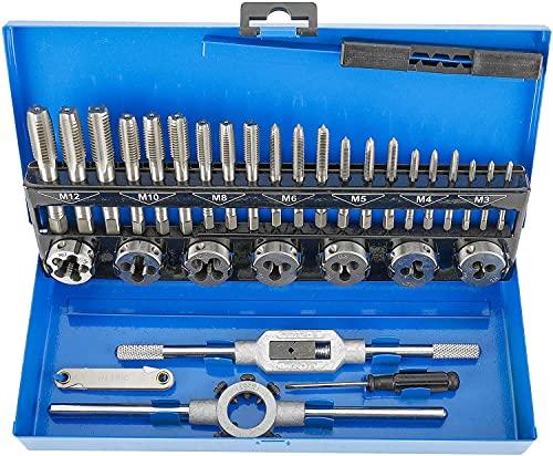 Toolly Juego de 32 piezas de grifo y troqueles métricos, juego de herramientas de acero endurecido, herramienta esencial de roscado y reroscado con estuche de almacenamiento