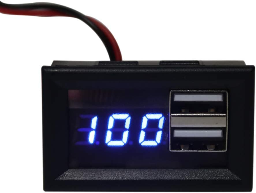 WENWING 12V Digital Battery Capacity Indicator Voltage Gauge Power Meter with QC 2.0 3.0 Quick Charge USB Output Battery Monitor Battery Power Indicator Panel
