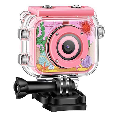 Cámara Digital para Niños 1080P HD Videocámara de Acción Recargable Video Subacuático Festival de Cumpleaños a Prueba Agua Regalo de Juguete para Niños Niñas con LCD 2.0 Pantalla y Tarjeta SD de 32GB