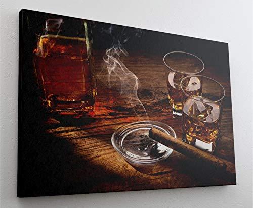 Fotografie Whiskey Zigarre Leinwand Canvas Bild Wandbild Kunstdruck L1935 Größe 70 cm x 50 cm