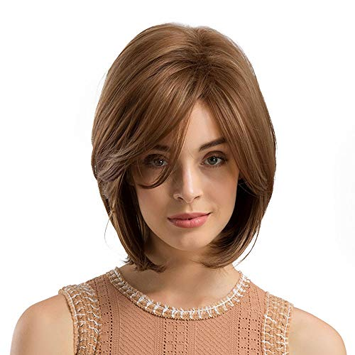 Lenfesh Lace Front Perücken Damen Bob Wigs Synthetische Perücke Natürliche Gerade Kurze Qualität Perücken Für Frauen Hitzebeständige Fasern Spitze Front
