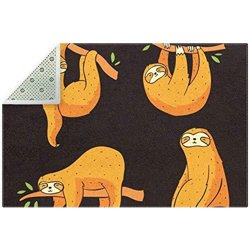 Eslifey rutschfeste Bodenmatte, dick, orangener Faultierzweig, weicher Teppich, Spielteppich, für Wohnzimmer, Schlafzimmer, Büro, Heimdekoration, 180 cm x 120 cm, Textil, multi, 200x150cm/79x59in