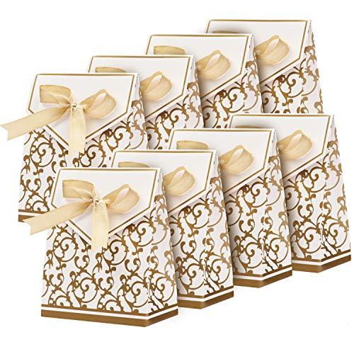 Belle Vous Gold&Weiße Papier Geschenkbox mit Goldener Schleife (100er Pack) Vintagestil Stabile Geschenkverpackung Box für Süßigkeiten, Konfetti, Hochzeit Kleine Gastgeschenke, Weihnachten, Babyparty