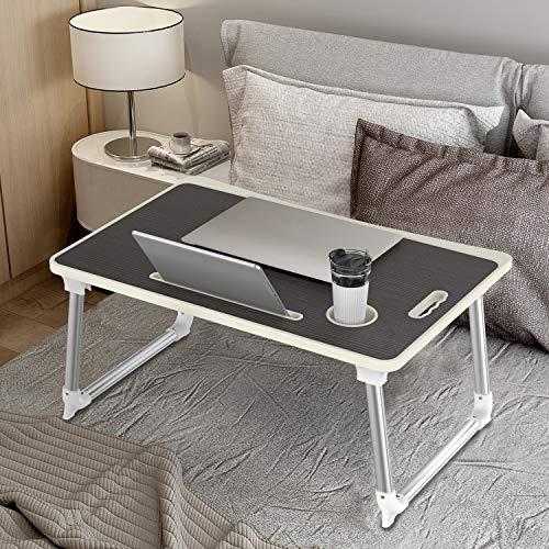 Mesa para Ordenador Portátil, Portátil Mesa Cama Plegable Mesa Escritorio Plegable con Portavasos/Soporte para Tableta/Manija (65 * 45 cm, Negro)