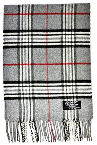 ADAMANT Damen Schal, 100% Climaxsoft (weich wie Kaschmir) - Made in Germany - kariert - 180x30cm (Grau Karo)