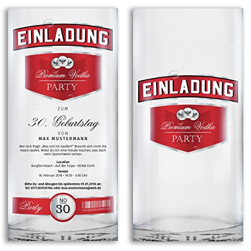(10 x) Einladungskarten Geburtstag Wodka Flasche Party Karten Einladungen