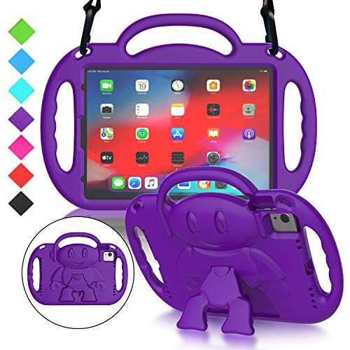MENZO New iPad Air 4th Generation 10.9-inch 2020 Release Kids Case, Light Weight Shockproof Shoulder Strap Handle Stand Case for iPad Air 4 / Pro 11 inch 2020 (2nd Generation)/2018 (1st Gen), Purple