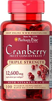 Puritan s Pride Triple Strength Cranberry Fruit Concentrate 12,600 mg-100 Softgels