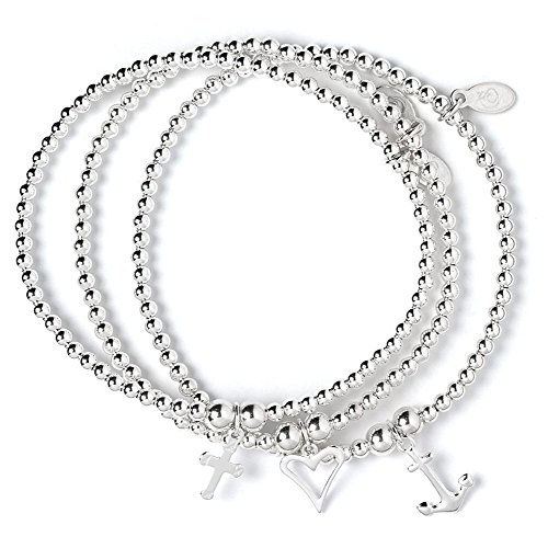 bumble beads Set of 3 Sterling Silver 'Rice & Noodle' Ball Bead Bracelets- Love Hope & Charity