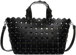 TOOGOO Hollow Ladies Bucket Bag Retro Shoulder Bag Messenger Bag High Capacity Ladies Messenger Bag Ladies Handbag Black