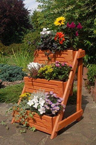 Deko-Shop-Hannusch Blumentreppe, Blumenleiter, Pflanztreppe, Pflanzleiter Breite aus Holz, vollständig behandelt in braun
