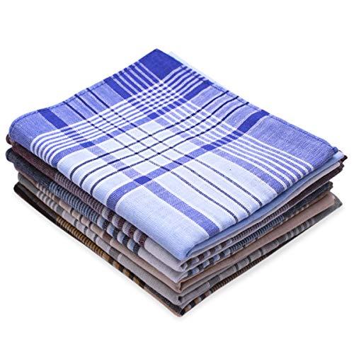 Dokpav 6PCS Pañuelos hombre,Pañuelos de caballero, 40 x 40cm,100% algodón, Pañuelo de Algodón, Pañuelo de Bolsillo Cuadrado, Pañuelo patrón de cuadros