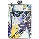 Elefantes TIZORAX con coloridas hojas tropicales Frascos de cadera de acero inoxidable Taza de vino de bolsillo con tapa de cuero para hombres Mujeres 227 ml
