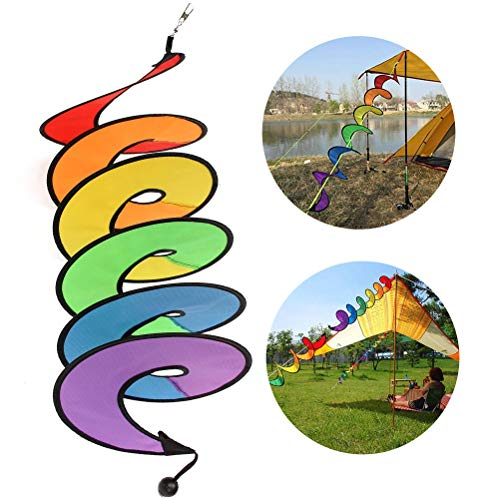 ZSWQ Regenbogen für Camping Windspiel stilvolle Haus und Gartendekoration,Spirale Regenbogen Wind Spinner Zelt Garten im freien Rasen Dekoration bunt,4pcs.