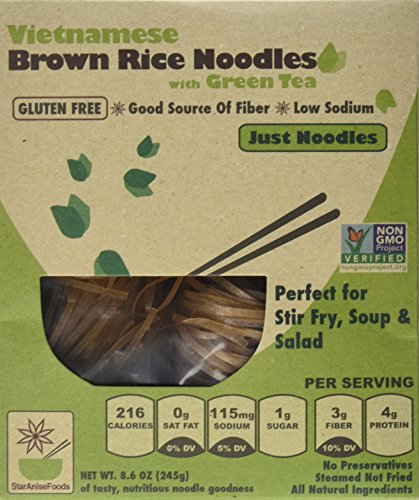 Star Anise Foods Vietnamese Brown Rice Noodles with Organic Green Tea -- 8.6 oz (pack of 6)