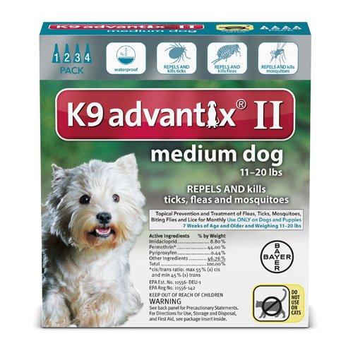 Bayer Animal Health K9 Advantix II for Dogs 11-20 pounds - 4 Month Supply by K-9 Advantix