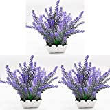 Unishop Set de 3 Macetas con Lavanda Artificial, Planta de Lavandula Decorativa para Interior, Flores Decorativas Falsas para Hogar con Maceta Blanca