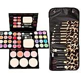 Juegos de mesa, cepillos de maquillaje de paleta de sombras, paleta de maquillaje de creación profesional - incluyendo sombra de ojos, mejillas rosadas, lápiz labial (Kit de paleta leopardo)