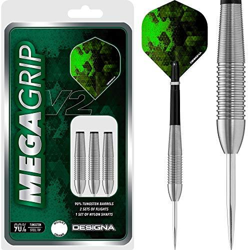 DESIGNA Dartpfeile Mega Grip V2 Steel Tip, 25 g