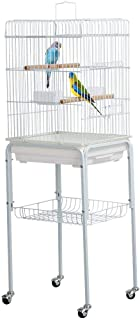 Yaheetech 47-inch Rolling White Bird Cages for Cockatiel Sun Parakeet Green Cheek Conure Mid-Sized Parrot Cage Stand with Detachable Stand