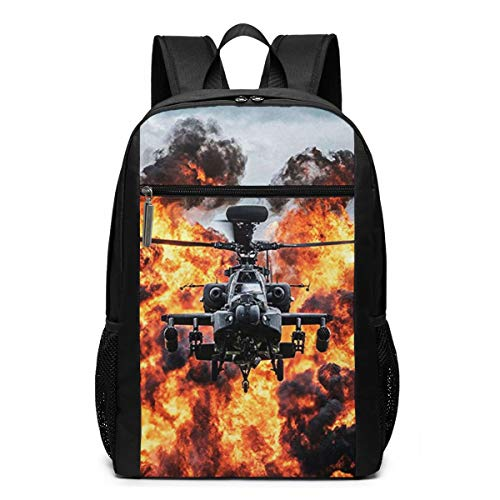 School Backpack Apache Attack Helicopter, College Book Bag Business Travel Daypack Casual Rucksack for Man Women Teenagers Girl Boy