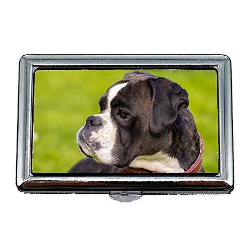 Harter Kasten-Zigarettenetui, Hundeboxer-Haustier-Tierhundeblick Boxer-Hundeporträt, Visitenkarte-Kartenhalter-Karten-Kasten rostfrei