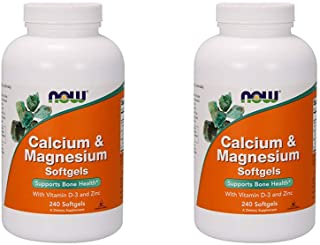 Now Foods, (2 Pack) Calcium & Magnesium, with Vitamin D-3 and Zinc, 240 Softgels