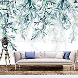 YBHNB Papier Peint Frais Vert Feuillage Aquarelle Style Scandinave Minimaliste TV Mur Jardin Fleur Personnalisé Vert Papier Peint-200X140Cm
