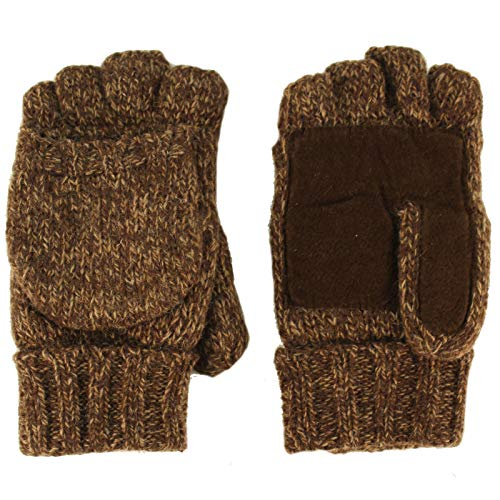 Men's Thinsulate 3M Thick Wool Knitted Half Mitten Suede Palm Gloves L/XL Brown