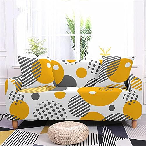 Funda Sofa 1 Plaza Puntos Amarillos Fundas para Sofa con Diseño Elegante Universal,Cubre Sofa Ajustables,Fundas Sofa Elasticas,Funda de Sofa Chaise Longue,Protector Cubierta para Sofá
