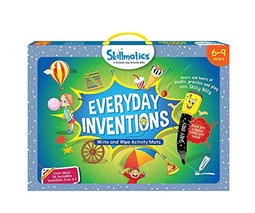 Skillmatics Educational Game: Everyday Inventions (6-9 Years), Erasable and Reusable Activity Mats with 2 Dry Erase Markers, Learning Tools for Boys and Girls 6, 7, 8, 9 ...