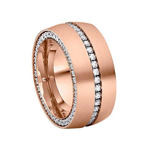 Heideman Ring Damen Ductus aus Edelstahl Rosegold farbend matt Damenring für Frauen mit Swarovski Stein Zirkonia Weiss im Brillant Schliff 1,5mm