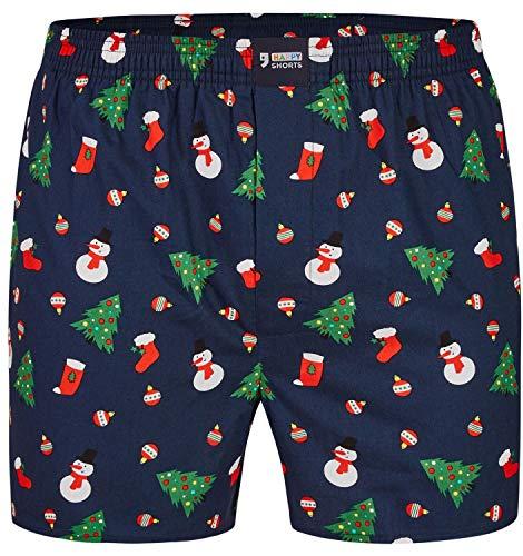 Happy Shorts Herren American Boxer Boxershorts Shorts Webboxer Weihnachten X-Mas Geschenk Schneemann - Snowman, Grösse:L - 6-52, Präzise Farbe:Schneemann - Snowman