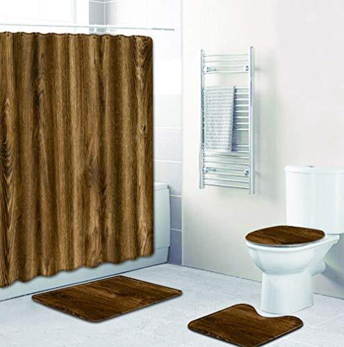 Joy-Beau Bathroom 4 Piece Sets, Waterproof Shower Curtain and 12 Hooks, Bath Mat, U-shaped Toilet Mat and Toilet Lid Cover,Wood Grain Printing