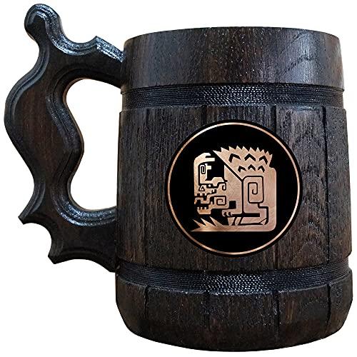 Monster Hunter World - Anjanath Wooden Beer Mug, MHW Beer Stein, Gamer Gift, Personalized Beer Stein, Monster Hunter Tankard, Custom Gift for Men, Gift for Him