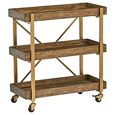 Rivet 3-Tiered Rustic Metallic Rolling Wood and Metal Bar Cart, 29.9  W, Natural