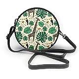 AKERCY-CASE Bolso cruzado para mujer, diseño tropical, jirafa, pájaro, hojas de palma, círculos, piel de microfibra