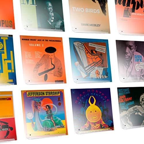 Hudson Hi-Fi Espositore da Muro Disco in Vinile LP Confezione da 12 – Metti in Mostra Il Tuo ascolto con Stile – Acrilico Trasparente