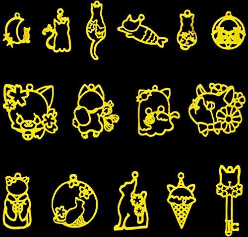 ANPHSIN ネコ レジン枠-15個 猫テーマ 空枠 フレーム 合金 手作り DIY デコ素材 uvクラフト uvレジン ハンドメイド 手作り 手芸 ジュエリー アクセサリーパーツ ペンダント セッティング 可愛い 大量 おしゃれ クリスマス バレンタイ