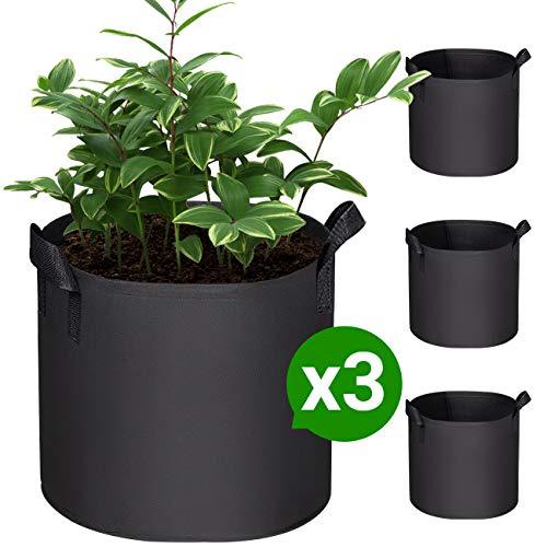 COSYLAND Sac de Culture de Plantes, 7 Gallons Sacs de Plantation en Tissu Non Tissé avec Poignées, Pots Respirant et Durable pour Pommes de Terre, Fraises, Fleurs et Légumes de Jardin, Pack de 3