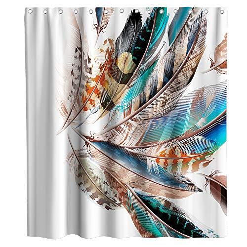 Boho Duschvorhang Indianer Bunte Federn Stoff Badezimmer Dekor Sets mit Haken Wasserdicht Waschbar 183 x 183 cm Blau Braun & Orange